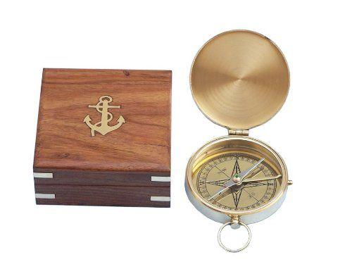"Vintage Brass Bronze Working Solid Compass 3/"" Naval Nautical Officer Pocket"