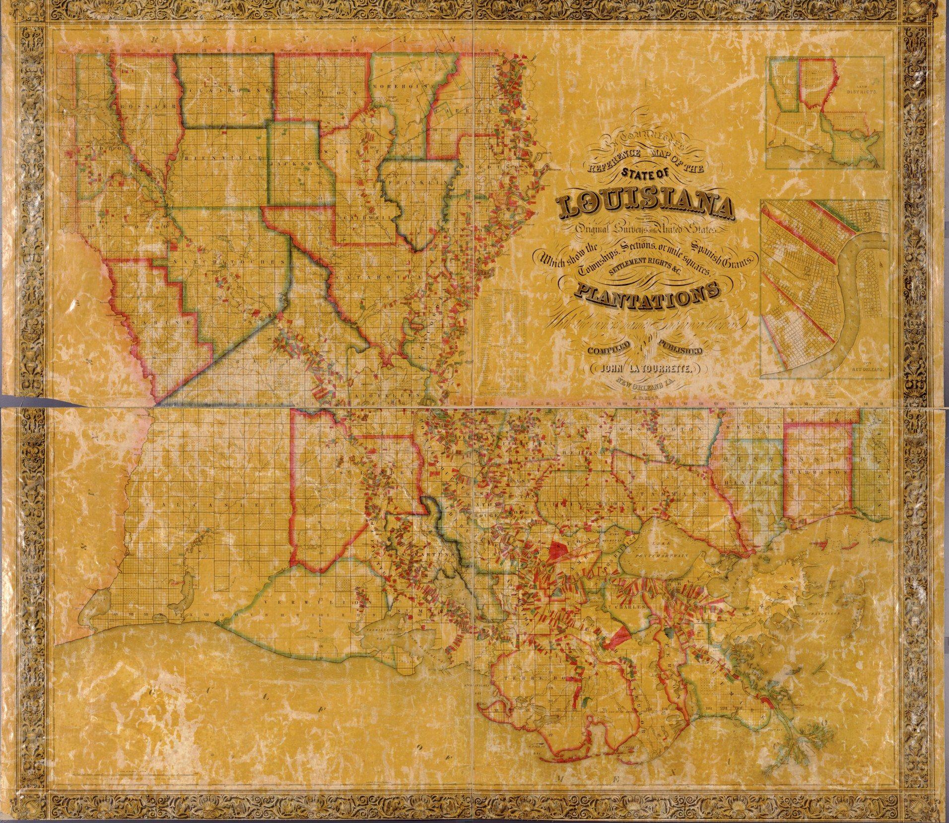 Map Of Louisiana Plantation Homes.Louisiana Plantation Map 1848 House Of History Llc Family