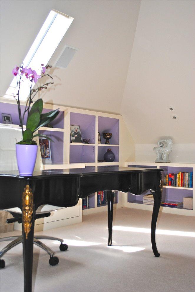 office decor ideas for work flowers shelves books dark table chair