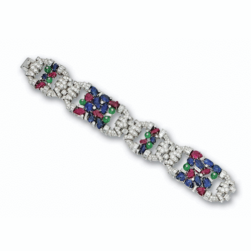 Carved colored stone and diamond bracelet, circa 1930 | lot | Sotheby's