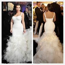 Strapless Slim Straps Kim Kardashian wearing Long Mermaid Wedding Dress.