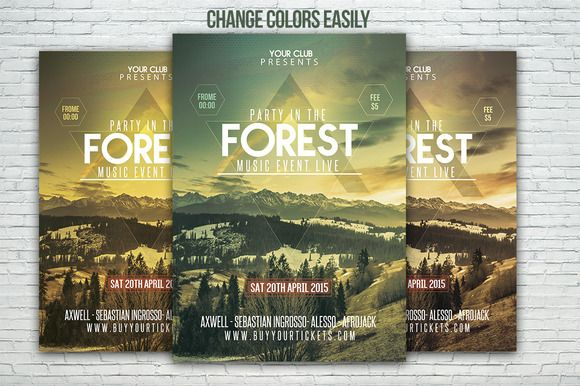Forest Party/Festival Flyer Template by Graphicfy Templates on ...