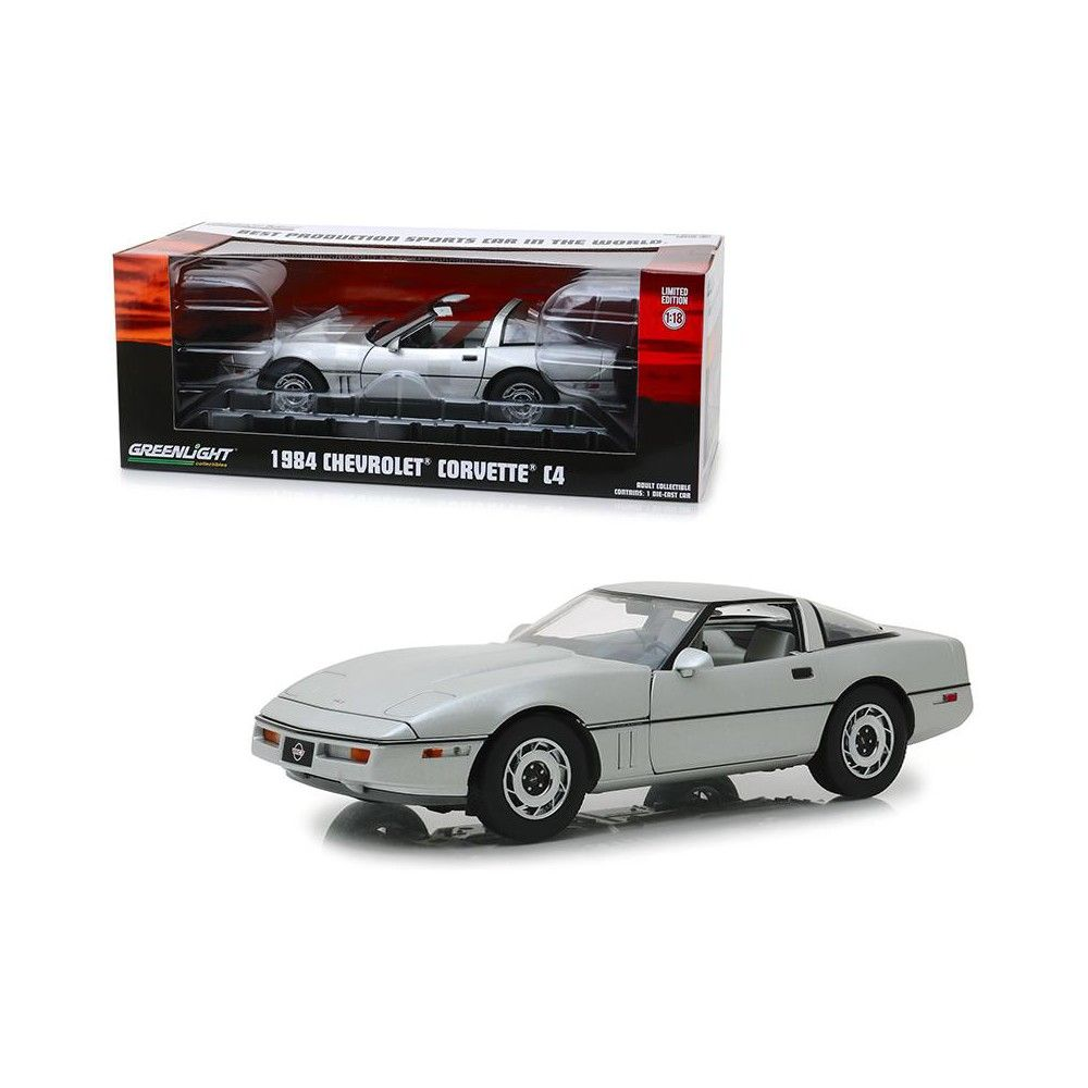 1984 Chevrolet Corvette C4 Convertible Silver Vintage Ad Cars 1/18 Diecast Model Car by Greenlight