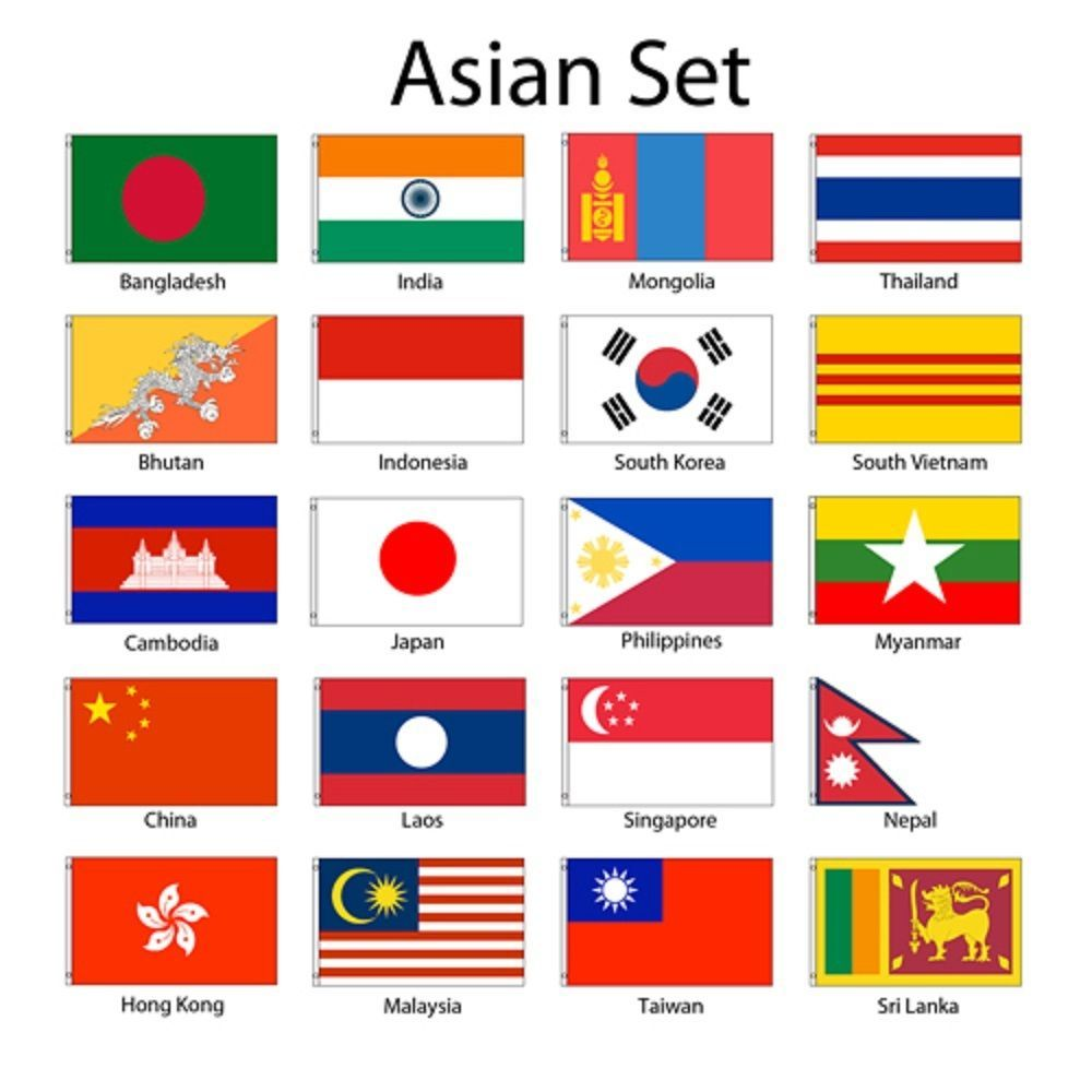 Asia Asian 2x3 Flag Set Of 20 Country Countries Polyester Flags Grommets World Country Flags Asia Flags Of The World