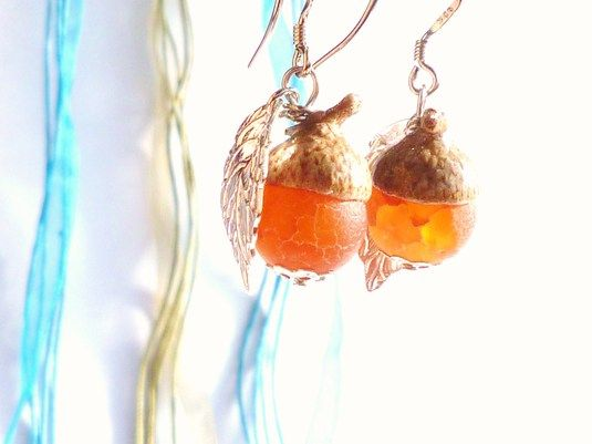 Agate どんぐり Earrings *Orange*