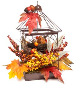 Add a whimsical touch to any room with this gorgeous bird cage decorated with the quintessential colors of the Fall season.