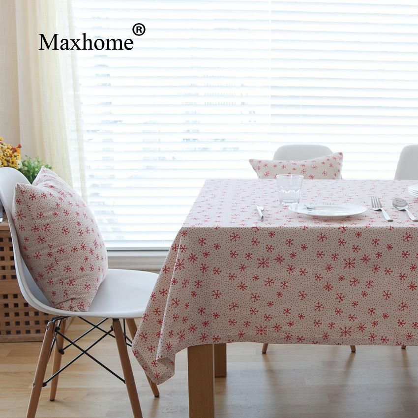 Red Snowflake Tbale Cloth Cotton Linen Tablecloths Modern Nordic