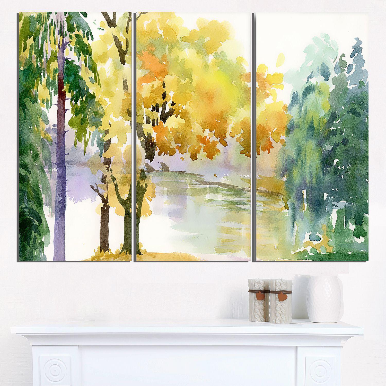Beautiful Autumn Forest Watercolor - Landscape Wall Art Print ...
