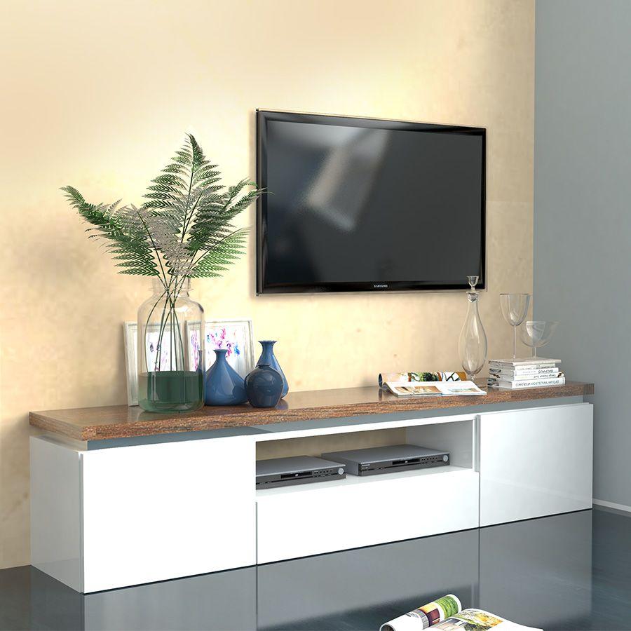 Meuble Tv Blanc Laque Brillant Et Couleur Bois Nemesis Mobilier