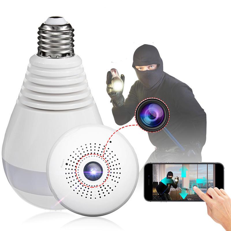 E27 360 Panoramic 1080p Ir Hidden Camera Light Bulb Wifi Fish Eye