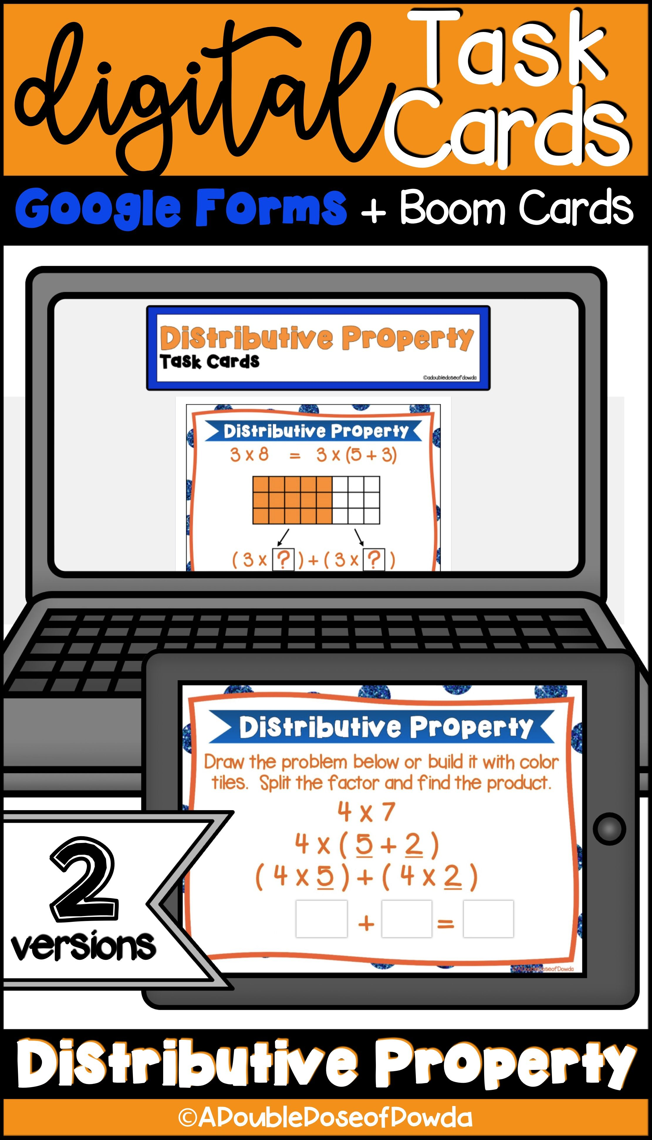 Distributive Property Of Multiplication Digital Task Cards For Distance Learning Task Cards Elementary Math Centers Distributive Property Task Cards