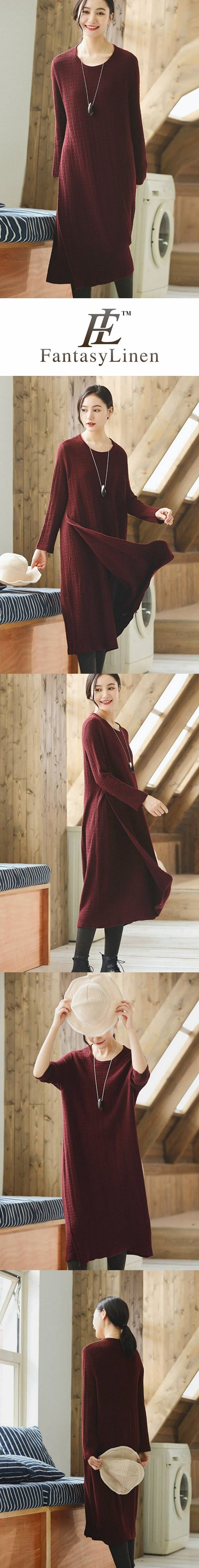70f077db575 RED WOOL LONG WOMEN SWEATER DRESS OUTFIT ELEGANT KNIT DRESSES Q2691 ...
