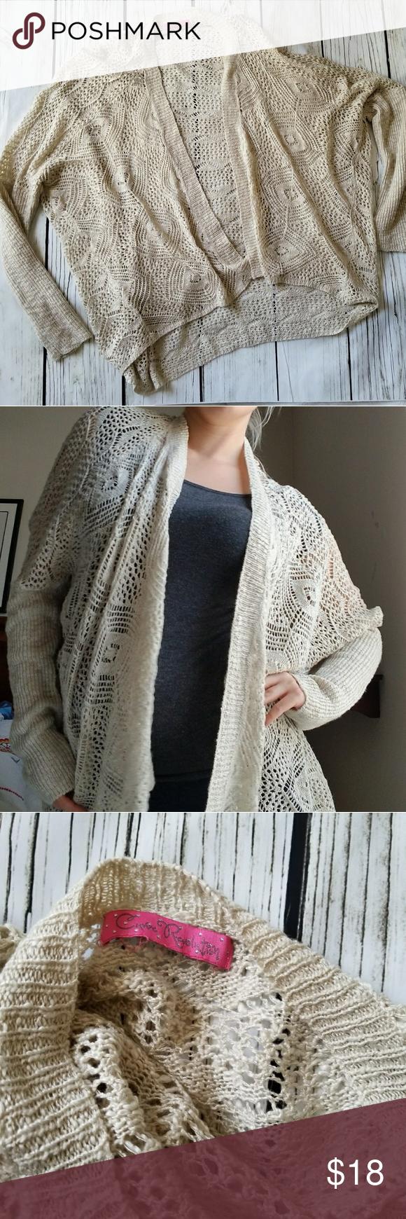 Oversized crochet cardigan shrug sweater beige | Shrug sweater ...