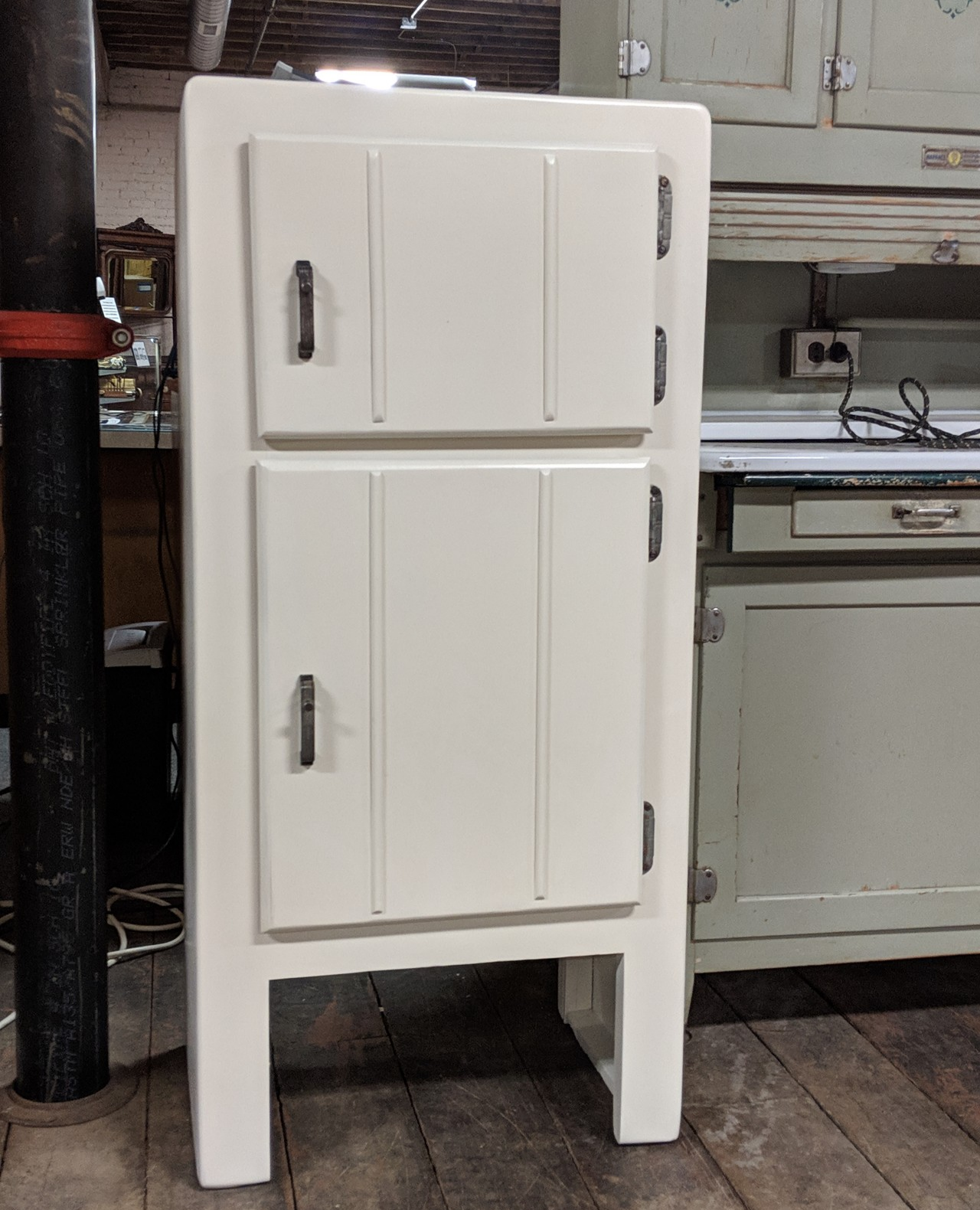 Look At Our Baby Icebox Thanks For The Restoration Work Coppes Napanee Find It In Our Hoosier Cabinet Museum Coppes Hoosier Cabinet Locker Storage Cabinet