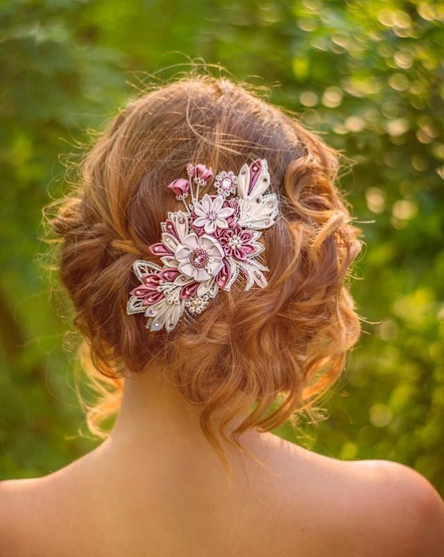 Unique wedding hair jewelry bridal headpiece comb silk flowers unique wedding hair jewelry bridal headpiece comb silk flowers swarovski crystals hair jewelry mightylinksfo