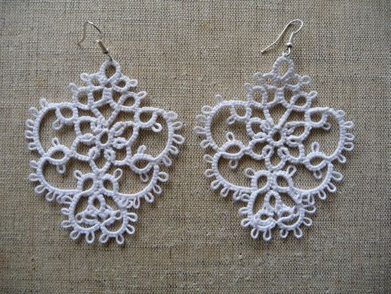 Tatting earrings Snow handmade jewelry lace earrings by ShopGift