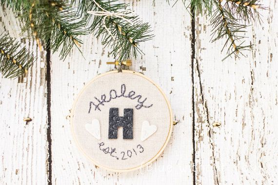Our First Christmas Ornament / Personalized Wedding Gift Keepsake - Felt and Embroidery Hoop Art - Personalized - Linen, Gray and White