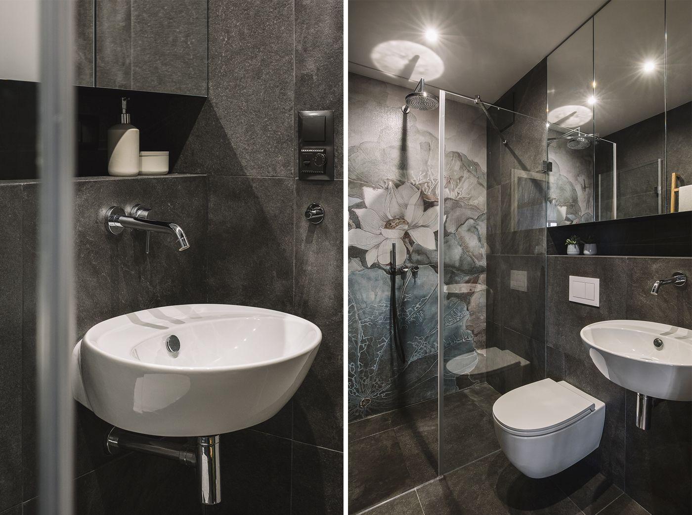 interiordesignbathroomshowerfloralwallpaper