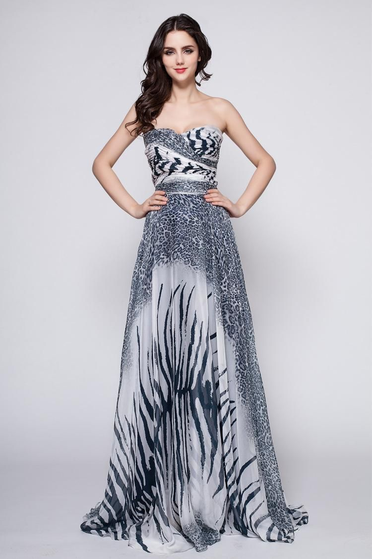 Printed Chiffon Cocktail Dresses