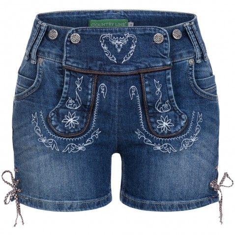 Jeans-Lederhose Christl Blau von Country Line   Trachtenhosen ... 09b2056349