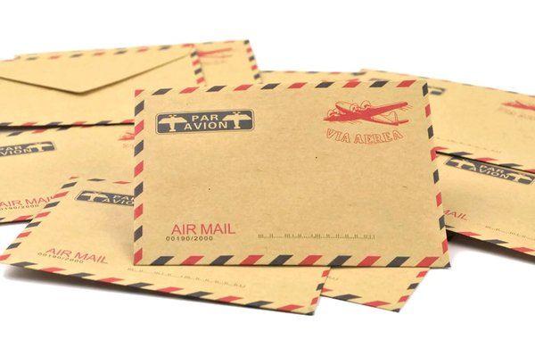 Vintage Brown Air Mail Envelopes 10pk Pretty Stationery Airmail Envelopes Paper Lace Doilies