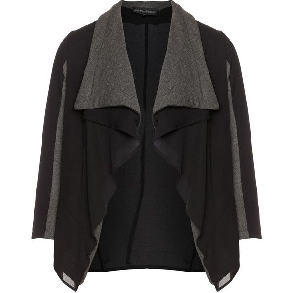 Jean Marc Philippe Black / Grey Plus Size Open blend cotton jacket ($99) ❤ liked on Polyvore featuring outerwear and jackets
