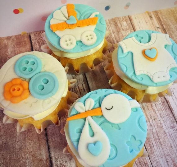 12 Baby Shower Edible Fondant Cupcake Toppers Baby Boy Baby Girl