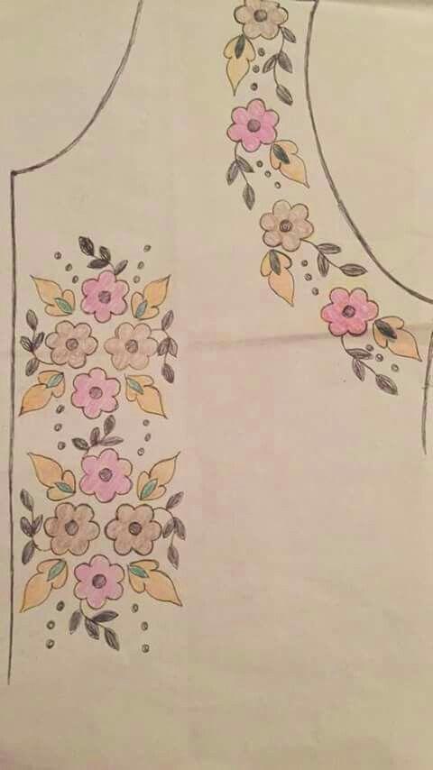 Floral cluster neck   Abayas   Pinterest   Bordado, Blusas y Blusa ...