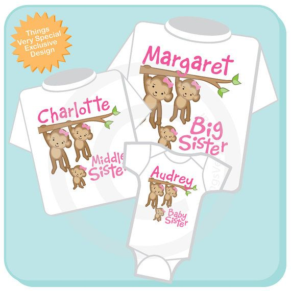 Girls Set of three Personalized Sibling Monkey Shirt Set, Big Sister Shirt, Middle Sister,  and Baby Sister, Shirt or Onesie :