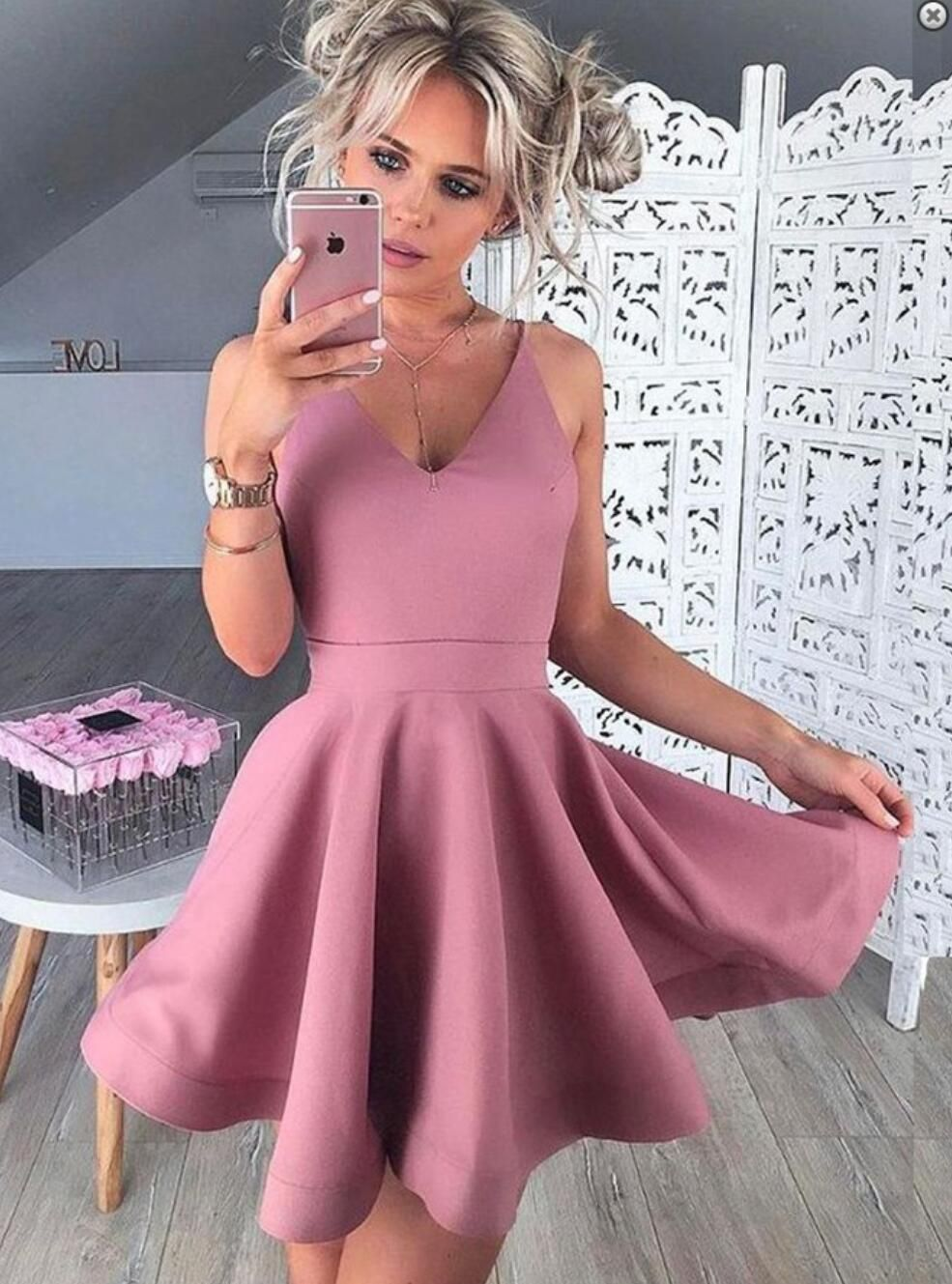 Spaghetti straps pink cheap homecoming dresses under cm