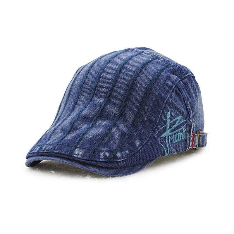 Unisex Cotton Embroidery Stripe Beret Hat Duckbill Golf Flat Buckle Visor Cabbie  Cap For Men Women. Visor HatsSun ... 216a95fbae8d