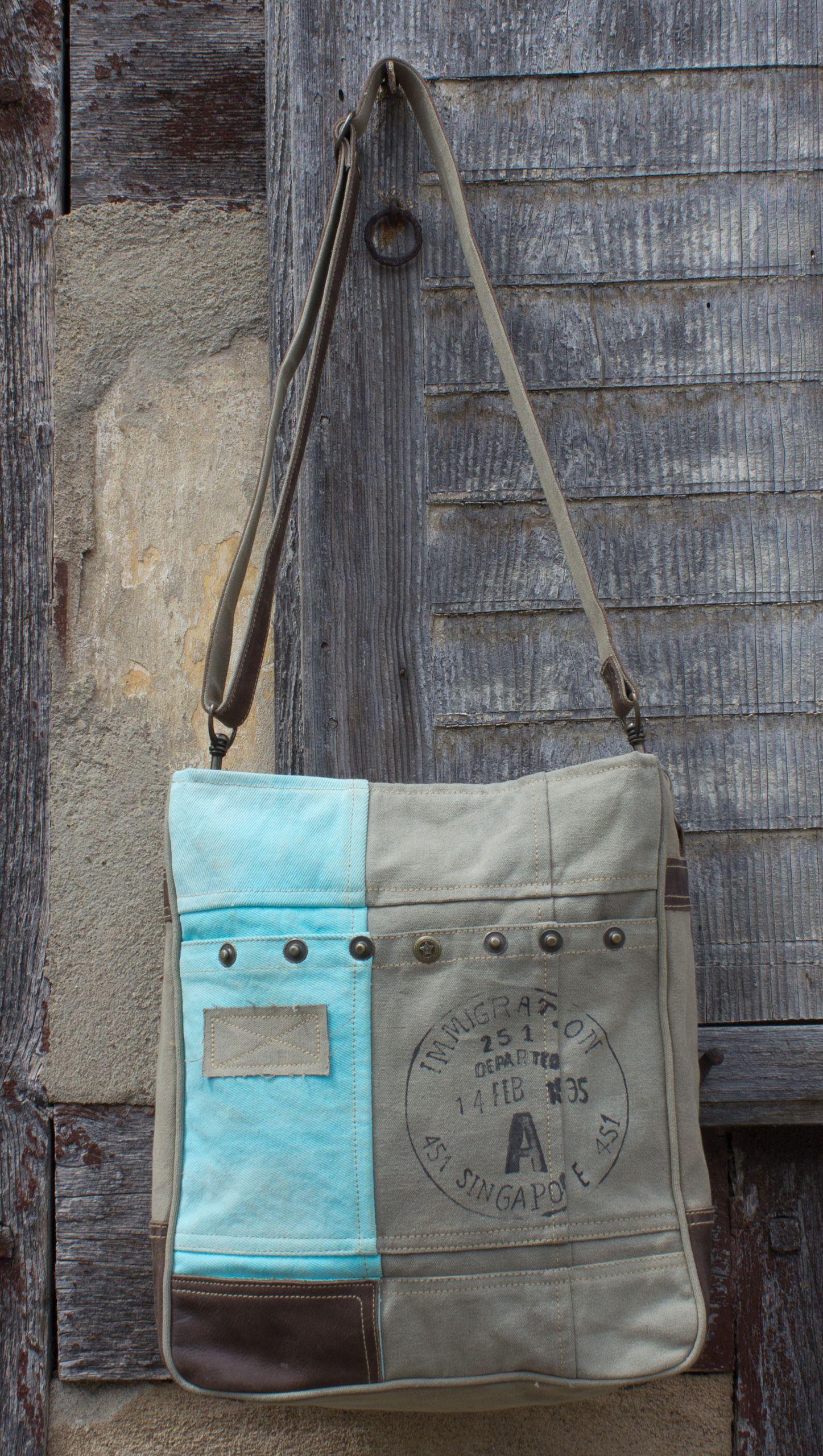 Sunsa Vintage Schultertasche Umhängetasche aus Canvas/ Segeltuch in blau, beige