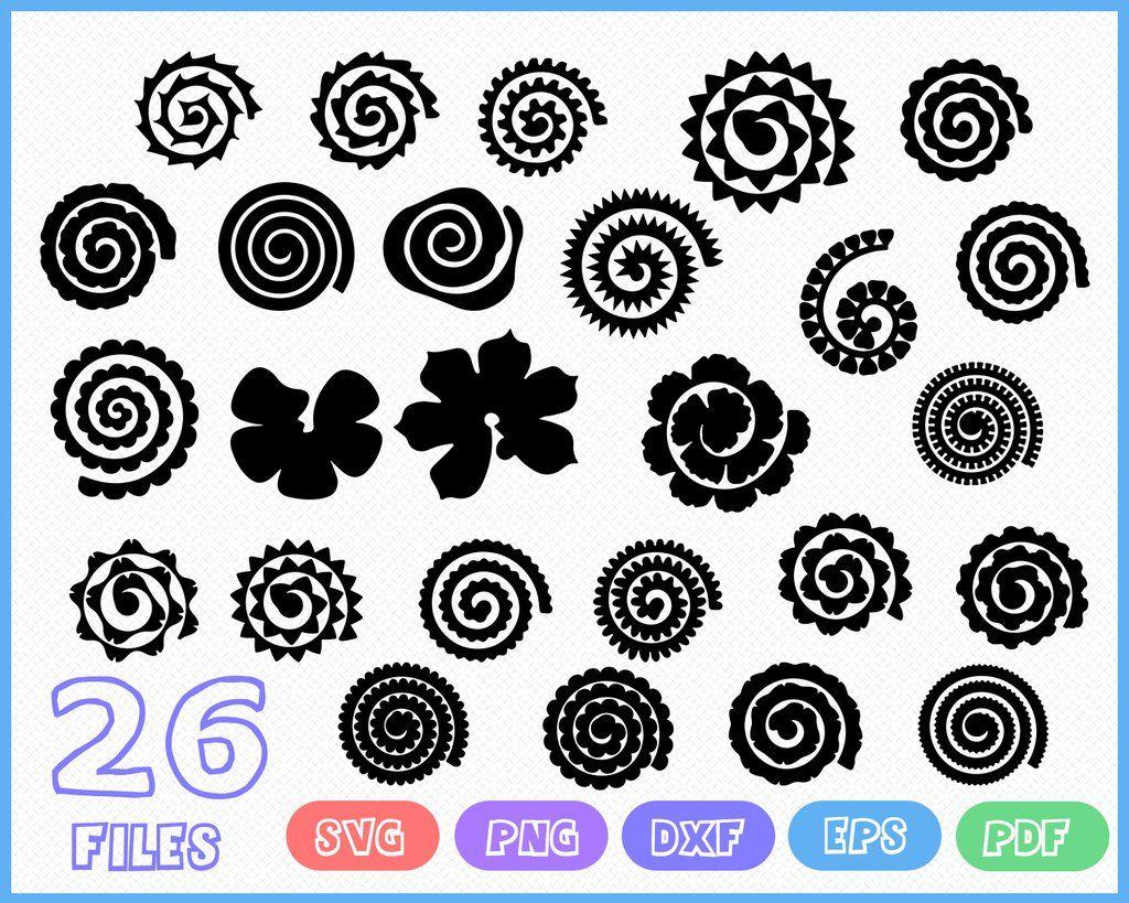Rolled Flower Svg Diy Rolled Flower Svg 3d Flower Svg Rolled