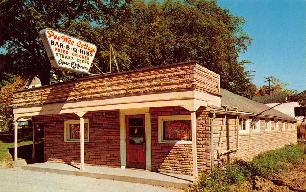 Postcard Pee-Wee Cottage Barbecue Restaurant in Bedford, Ohio~112944