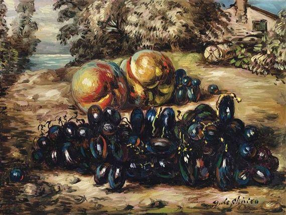 Giorgio de Chirico, Vita silente di frutta in un paese