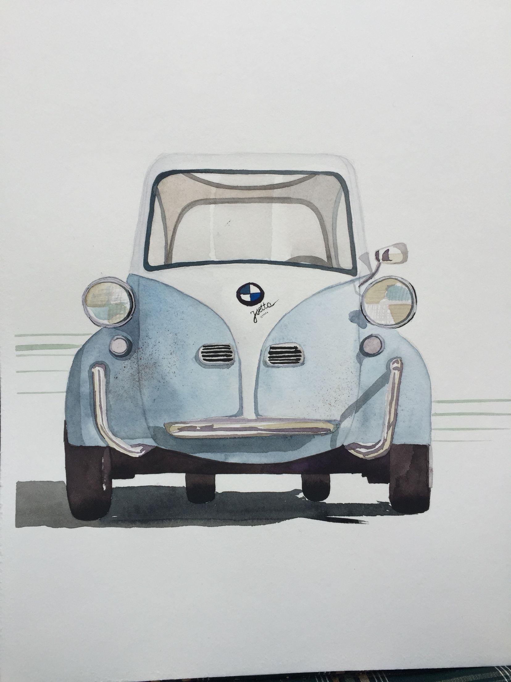 BMW Isetta, retro car watercolor