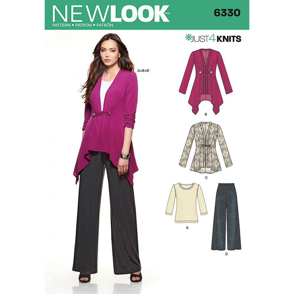 new-look-6330-sewing-pattern-top-pants-and-long-sleeve-cardigan ...