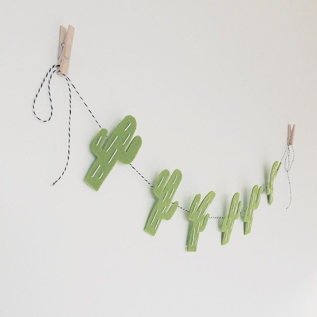 """""""El Cactus Garland Right. To shake off Postman Pat not delivering like he should.... I'm finishing a few of these tonight. Hand stitching some Cacti.…"""""""