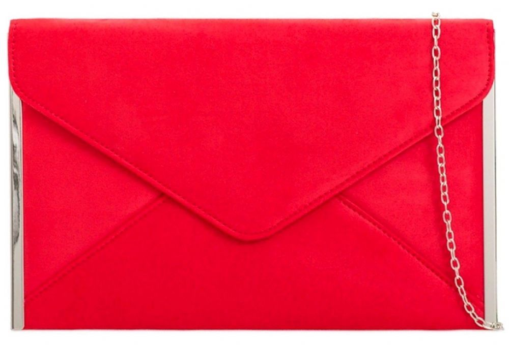 Red Faux Suede Envelope Style Clutch Bag Shoulder With Silver Tone Trim To The Side Fastens A Flap Over Top And Concealed