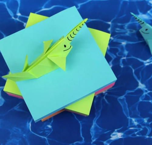 Seaworthy Sticky Note Origami Narwhal Paper Crafts Pinterest