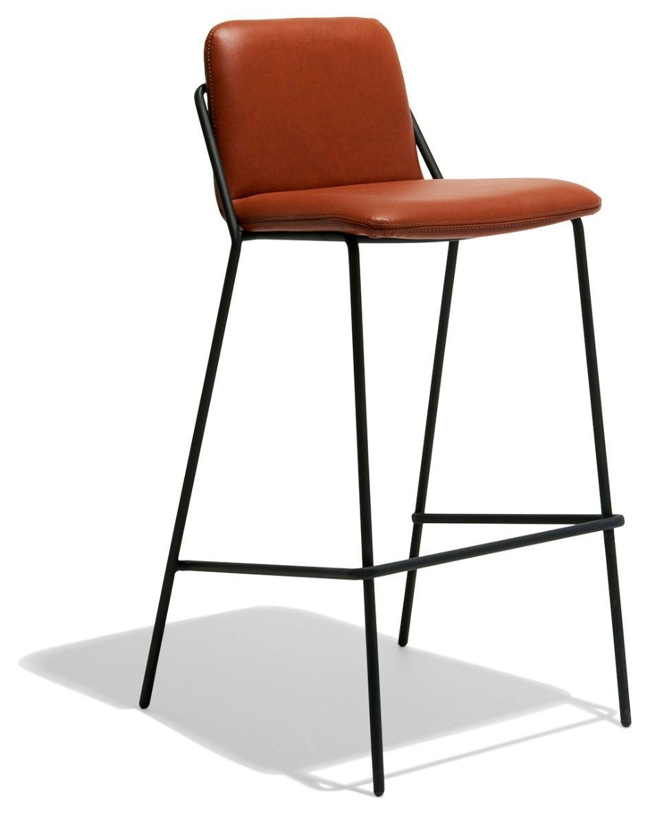 Sling Bar Stool Leather Upholstered Stool Bar Stools