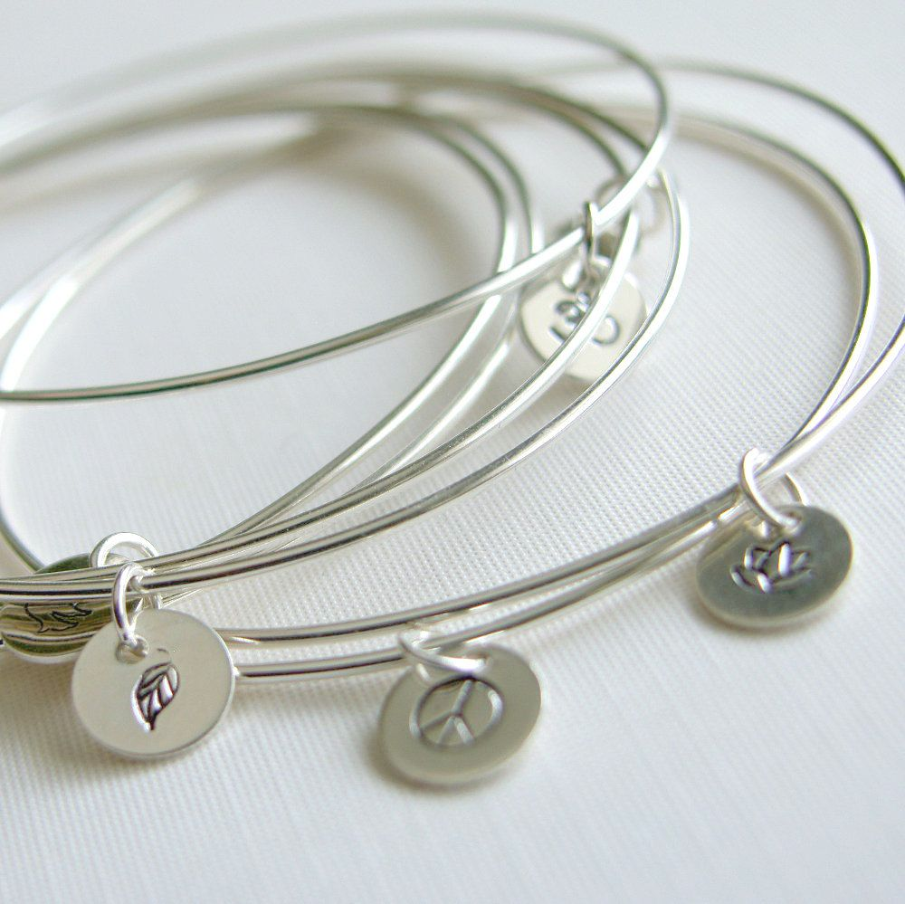Bangles Sterling Silver Bracelets With Stamped By Luttrellstudio 55 00 Jewelry Pinterest