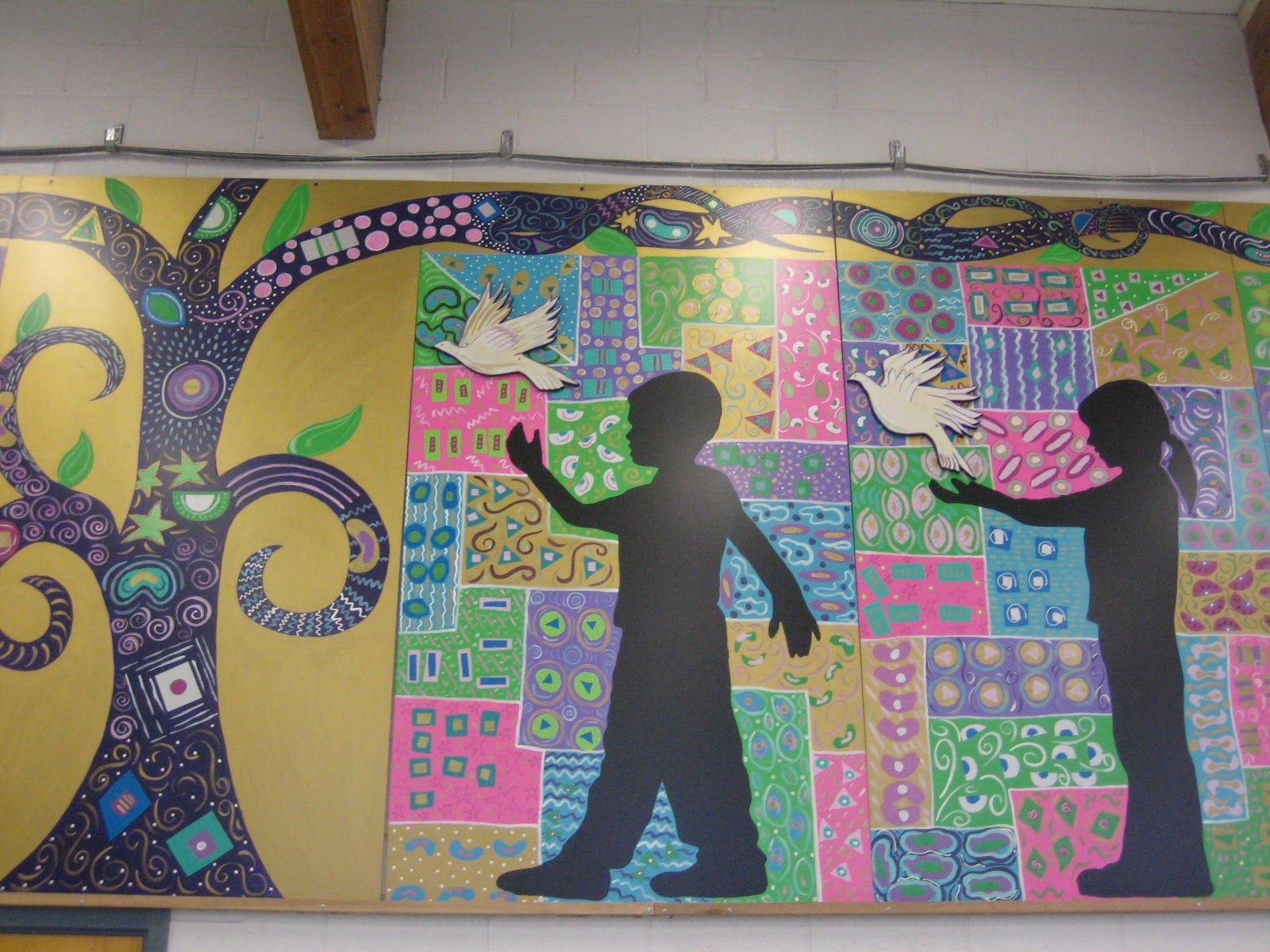 Image result for collaborative school installation art for Arts and crafts mural
