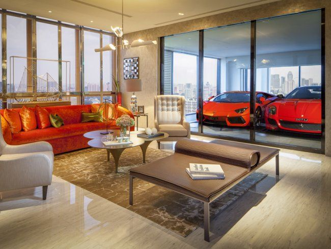 Park Your Supercar In The Living Room At This Crazy New High Rise In Singapore Luxury Apartments Garage Interior House With Porch