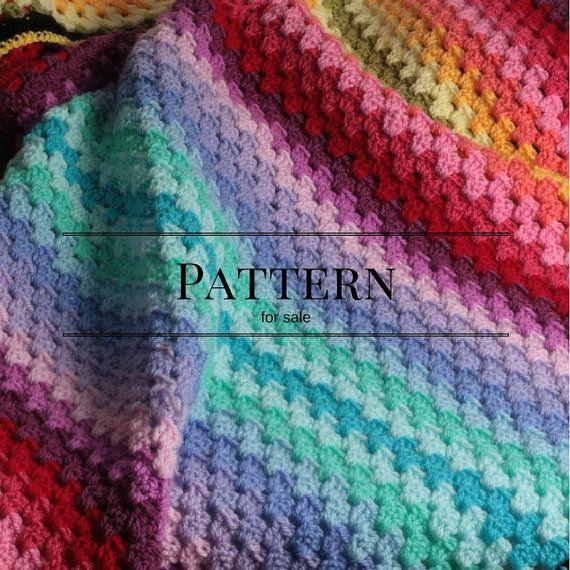 Crochet Afghan Pattern Ombre Granny Stripe Crochet Blanket