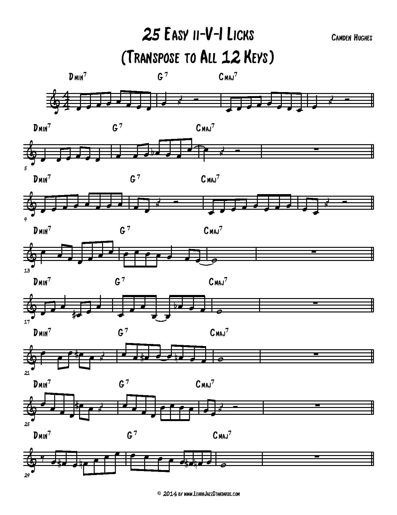 25 Easy Ii V I Licks Learn Jazz Standards Jazz Standard Jazz Sheet Music Country Music Love Songs
