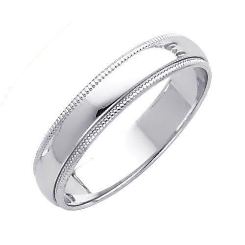 14k White Gold 4mm Plain Milgrain Wedding Band Ring For Men