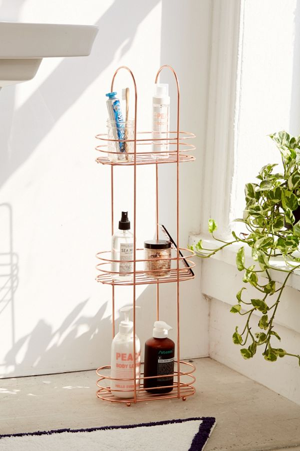 Minimal Rose Gold Standing Bathroom Storage Bathroom Storage