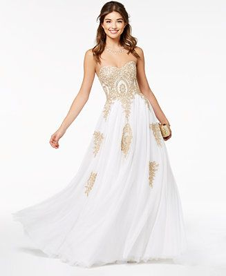 e365669436 Say Yes to the Prom Juniors  Beaded Corset-Back Gown