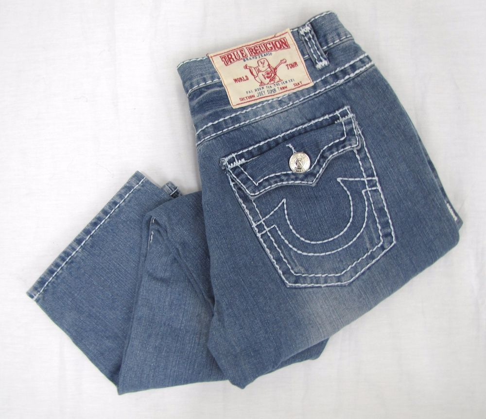 True Religion Joey Super T Jeans 38 x 31 Straight Leg Big Stitch Flap Pocket USA #TrueReligion #ClassicStraightLeg